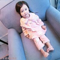冬季女童套装秋冬季睡衣女宝宝家居服婴儿童保暖长袖两件套0-1-2-3岁4秋冬新款 粉红色小兔 睡衣套装