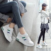 ZHR2018春季新款小白鞋内增高运动鞋单鞋厚底休闲鞋真皮学生女鞋AH32