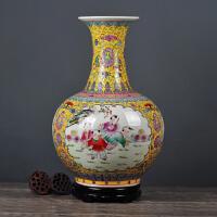 景德镇陶瓷落地花瓶仿古手绘粉彩中式现代客厅家居新房装饰品摆件