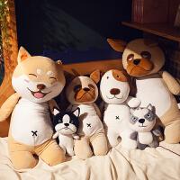 哈士奇柴犬狗狗毛绒玩具大狗公仔长条枕可爱娃娃女孩二哈抱枕