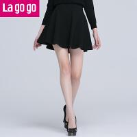 【满200减100】Lagogo2016春秋新款纯色黑色显瘦休闲半身裙女短裙 高腰A字裙FAP853HD05