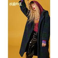 妖精的口袋毛呢大衣冬装2018新款韩版长袖通勤长款呢子外套女