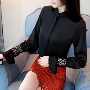 哆哆何伊雪纺衫女长袖2018春装新款韩版蕾丝小衫chic宽松上衣喇叭袖女衬衫