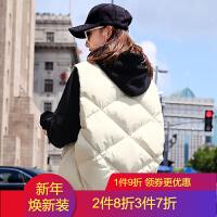 2018女秋冬韩版马甲短款休闲百搭棉衣宽松加厚马夹外套潮