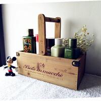 收纳盒法文旧木小木盒化妆品收纳盒工具盒复古桌面