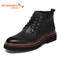 红蜻蜓男鞋马丁靴男高帮鞋男系带男士休闲皮鞋男鞋子