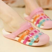 凉鞋百搭洞洞鞋女夏季平底沙滩鞋新款学生拖鞋