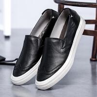 CUM 英伦皮鞋雕花男潮增高厚底套脚一脚蹬45大码男鞋
