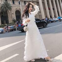 2018秋装新款女装仙气时尚气质连衣裙名媛白色礼服温柔仙女长裙潮连衣裙新款衣裙连衣女装