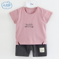 2021新款婴儿外出纯棉短袖套装夏季款新衣服男女宝宝透气薄款1-2岁儿童T恤潮