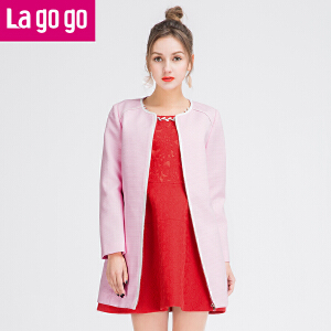 lagogo拉谷谷春夏新款粉色圆领长袖薄外套女甜美中长款宽松外搭