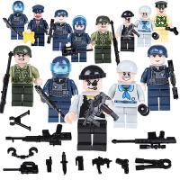 儿童拼装军事武器公仔城市警察人物小人偶组装积木玩具男孩