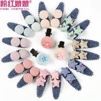 韩版儿童发饰星星花朵小发夹全包布婴儿边夹bb夹糖果色发卡头饰