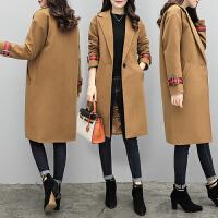 冬季加厚显瘦拼接毛呢外套大码女装宽松呢子大衣潮胖MM200斤