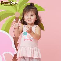 【3件3折 到手价:89】Pawinpaw卡通小熊童装夏款女宝宝圆领外穿背心婴幼儿无袖上衣