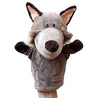 手指娃娃小动物玩偶 手偶 嘴巴能动手偶玩具 动物手套手玩偶卡通毛绒娃娃语言区故事盒 灰色 【NI大灰狼】