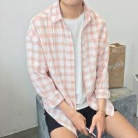 原宿宽松格子衬衫男长袖港风韩版百搭休闲衬衣夏季薄款寸衫男褂子
