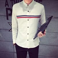 秋季男士长袖衬衫韩版修身休闲衬衣横条纹简单休闲衬衣学生青少年
