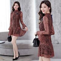 蕾丝连衣裙女秋季新款蕾丝连衣裙气质女韩版修身显瘦