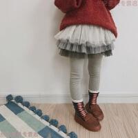 2018春韩版新款加绒加厚女童裙裤儿童百搭假两件裙外穿打底裤 灰色 渐变色(不加绒)