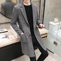 秋冬季新款韩版毛呢大衣男中长款风衣潮男装呢子休闲修身外套
