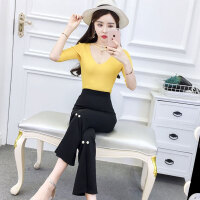 时尚套装潮 2018夏季新款糖果色打底T恤高腰显瘦喇叭裤2件套女