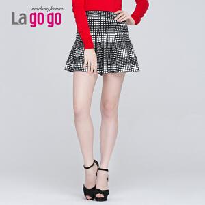 Lagogo/拉谷谷新款格子松紧腰显瘦半身裙