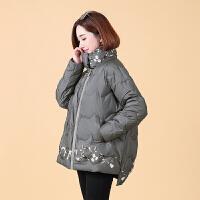 羽绒服女冬装韩版短款宽松显瘦印花时尚白鸭绒百搭外套