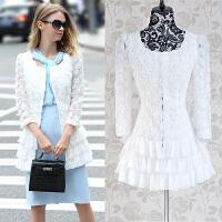 时尚白色玫瑰花镶荷叶边修身风衣外套秋新款气质修身显瘦外套