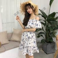 夏装女装韩版小清新高腰显瘦吊带裙露肩碎花荷叶边短袖雪纺连衣裙