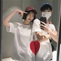 ~爱心短袖T恤蜜月情侣装夏装白色2018新款纯棉春夏男女