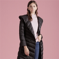 面包羽绒服女中长款2018冬季新款韩版修身灰鸭绒黑色薄款连帽外套