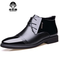 米乐猴 冬季系带棉鞋男保暖商务正装皮鞋高帮鞋加绒男士棉鞋休闲鞋男