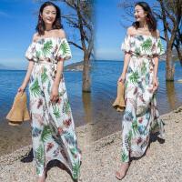 2008一字肩连衣裙女夏印花波西米亚度假沙滩裙长裙
