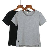 2018夏季新款韩版大码宽松短袖T恤女纯白色打底开叉前短后长