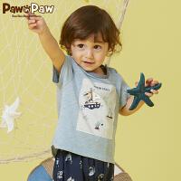 【3件3折 到手价:107】Pawinpaw卡通小熊童装夏款男宝宝圆领棉质短袖婴幼儿T恤可爱