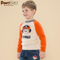 【2件2.5折 到手价:175】Pawinpaw宝英宝卡通小熊童装冬款男童卡通毛衣儿童撞色插肩袖上衣
