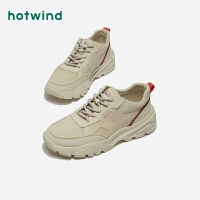 热风新潮流时尚男士系带鞋中跟厚底运动板鞋H42M9118