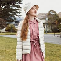森马轻薄羽绒服女2018冬季新款短款立领白色外套女款时尚潮流