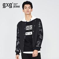 gxg.jeans男装秋季休闲时尚潮流薄款修身黑色夹克外套63621278