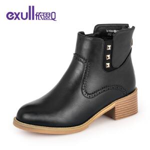 依思q冬季新款圆头粗跟中跟短靴铆钉后拉链潮流女靴