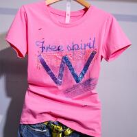粉色短袖T恤女装2019早春新款夏装百搭体��上衣欧货潮