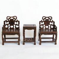 红木工艺品微缩家具模型 实木质摆件木雕 鸡翅木微型福字太师椅