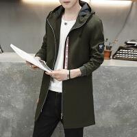 新款男装薄款外套秋季青年中长款风衣男士韩版印花学生连帽夹克潮