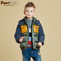 【3件2折 到手价:260】Pawinpaw宝英宝卡通小熊童装秋冬款男童白鸭绒羽绒服儿童短款外套