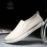米乐猴 潮牌夏季新款皮鞋韩版男士豆豆鞋懒人鞋白色潮鞋男鞋子休闲鞋男驾车鞋
