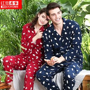 红豆居家情侣睡衣男女士秋季新款纯棉长袖卡通小熊印花翻领开衫套装