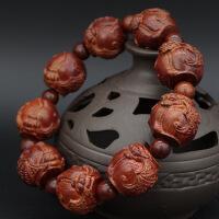 沉香木雕刻十八罗汉貔貅佛珠男女款手串 紫檀乌木黑檀木108颗手链