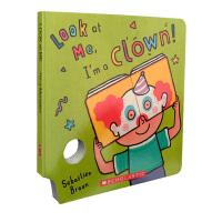 Look At Me Mask I'm a Clown!趣味童书纸板书 英文原版绘本 儿童面具书 宝宝玩乐游戏图书 在