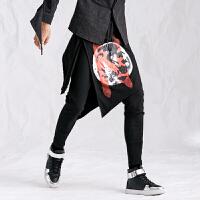 新款秋冬男裙裤韩版发型师个性涂鸦印花假两件哈伦裤不对称修身小